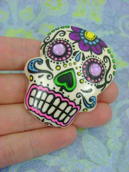 Colourful Painted Sugar Skull by monsterkookies