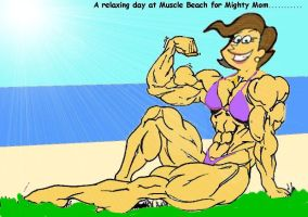 Mighty Mom on the Beach by grabowski2