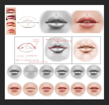 Lips tutorial by LenamoArt