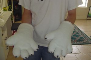 Fursuit hands after furring by Necrolator