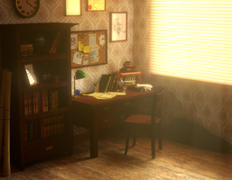 Old warm office by Zajeczyca