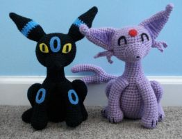 amigurumi umbreon and espeon by TheArtisansNook