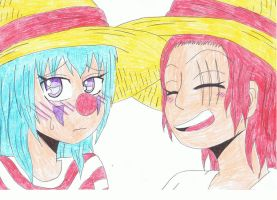 Fem!Buggy and Fem!Shanks by Lemonka3