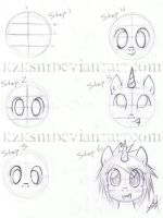 How I draw Ponies - Front View by KzKsM