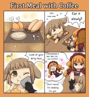 Pets Love 4koma : First Meal With Coffee by GreenTeaNeko