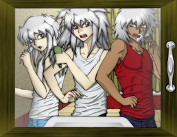 Bakura's morning routine by AngelLust155