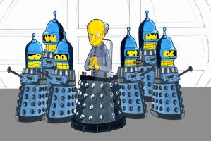 Dalek/Simpsons/Bender mash-up by dracon257