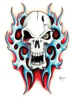 tribal skull by acetheone