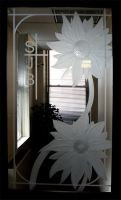 Sunflower Etched Glass Door Panel - Sandblasted by ImaginedGlass