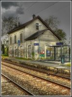 rairoad station in a small city by jef-photos