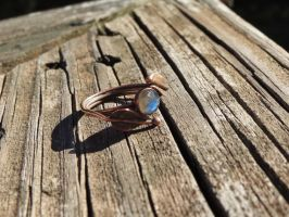 Labradorite copper leaf ring by whippetgirl