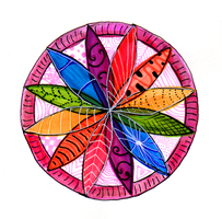 Watercolor and Ink Compass Mandala: Rainbow by jenthestrawberry