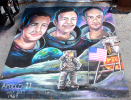 Apollo11 Moon Landing Chalkart by charfade