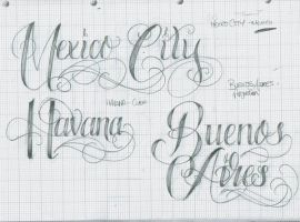 Tattoo Lettering 33 City's by 12KathyLees12