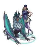 Sarita and her Noivern by cheeny