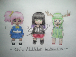 Variety Chibi Adoptables - OPEN by Mistress-Siren