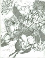 Wolvie and Gambit by -vassago-