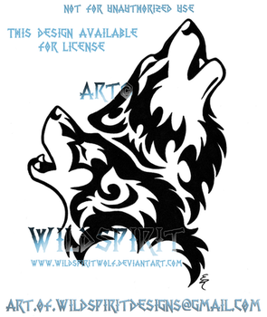 Howling Wolf Pair Tribal Design by WildSpiritWolf