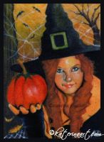 Halloween Witch - ACEO by Katerina-Art