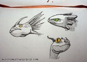 Moar Dragon Sketches by Twitchy-Kitty-Studio