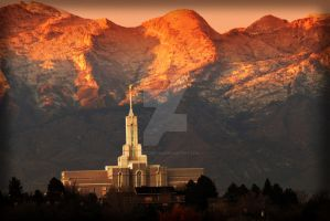Mount Timpanogos Temple Sunset by houstonryan