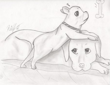 *Request* Yellow lab and French bulldog by Manga-Animecreator