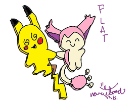 Flat pikachu and skitty by narutard33