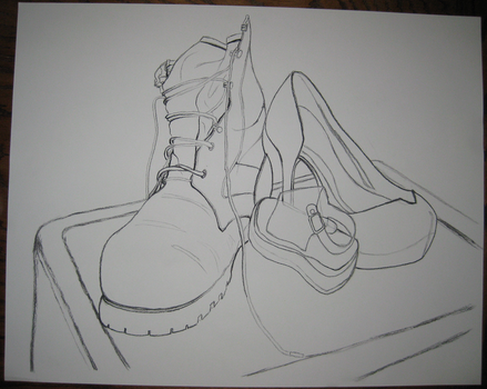Contour Drawing Shoes by empy3