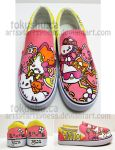 Hello Kitty Shoes by artsyfartsyness
