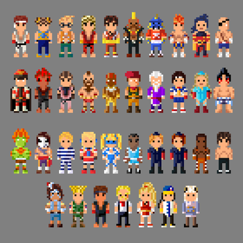 Street Fighter Alpha Series Characters 8 bit by LustriousCharming