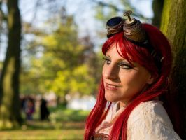 Steampunk girl deep in thought by LindyvdBosch