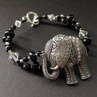 Pewter Elephant Charm Bracelet by Gilliauna
