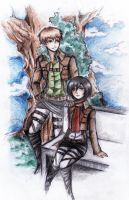 Jean and Mikasa by maskedpeach