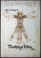 The Vetruvian man, as he would be today by Meatshop-Tattoo