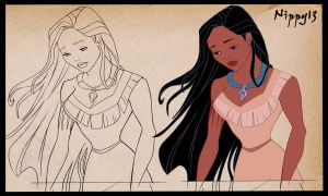 Pocahontas-lineart+color by Nippy13
