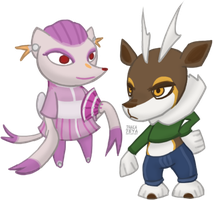 Animal Crossing-style Fen and Sam by Thalateya