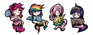 My Little Pony Humanized Chibi Keychains by SouthParkTaoist