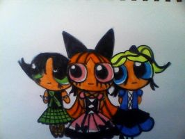 Goth Power puff girls by mistresscarrie