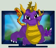Classic Spyro jumps out of TV by TheDragonCat