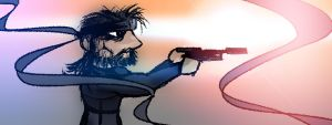 Solid Snake holding a tranquilizer # 2 by AwakeNight