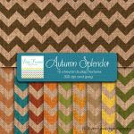 Autumn Splendor Colors Digital Burlap Chevron by Dragonflytwist