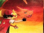 Red, Charizard and Pikachu by MarcelaUrena