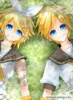 Kagamine Rin and Len by Shumijin