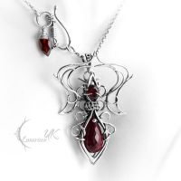 NAXULIEER - silver and red topaz by LUNARIEEN
