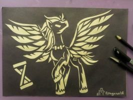 Discorded Whooves Paper Cutting by rragewolf