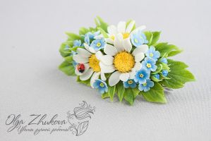 Hairpin automatic hair with chamomile by polyflowers