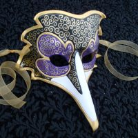 Purple Venetian Raven Mask by merimask