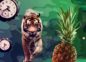 Time stops for pineapple tiger by Sarita37