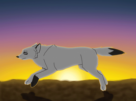 Running wolf - animation test by KanahaniART