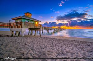 Juno-Beach-Sunrise-Under-the-Clouds-at-Pier by CaptainKimo